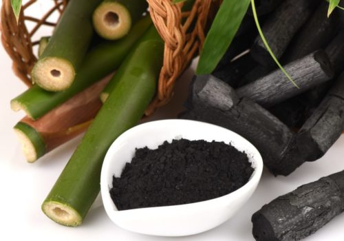 Bamboo charcoal burner and bamboo fresh in the basket and Bamboo charcoal powder.